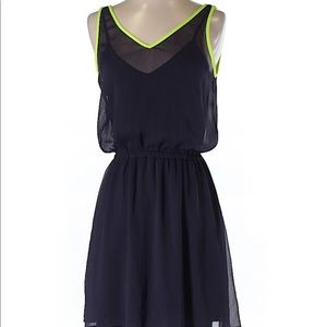 Express black and neon yellow trim dress small
